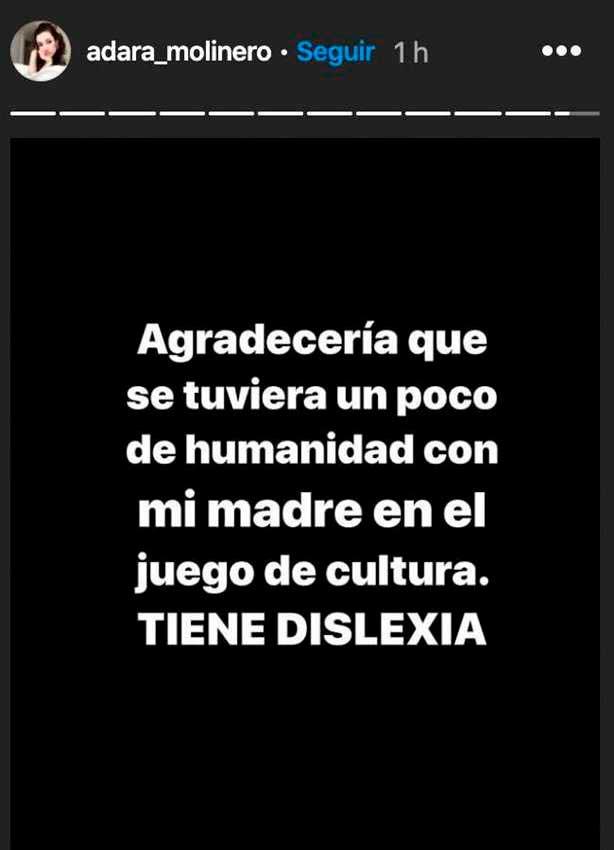 Adara Molinero histoira de instagram defendiendo a Elena